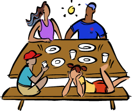 illustration of family at picnic table