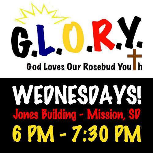 Glory (God Loves our Rosebud Youth)Logo with Wednesday 6-7:30 pm meeting time