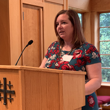 Clare Beam at pulpit